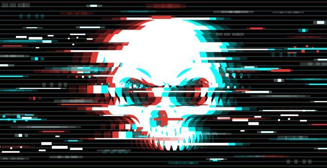 Design element for web pages, print assets, advertising, branding, shares, promotion. Distorted skull illustration over the glitch art background. Vector illustration.