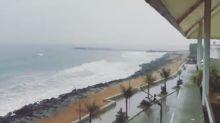 Cyclone Gaja Brings Rough Waves to Beach in Pondicherry, India