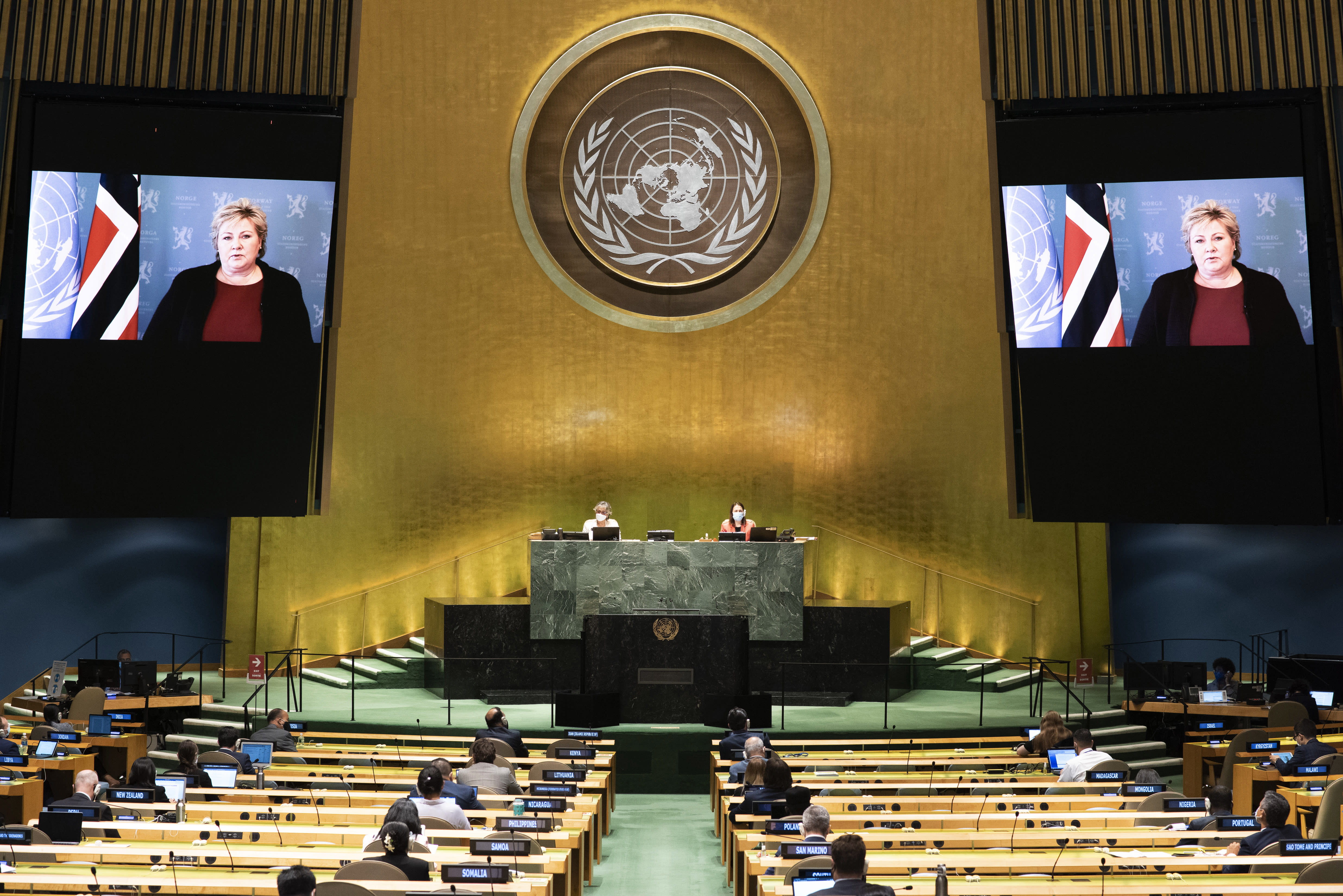 In this photo provided by the United Nations, Erna Solberg, Prime Minister of Norway, speaks in a pre-recorded message which was played during the 75th session of the United Nations General Assembly, Saturday, Sept. 26, 2020, at the UN. headquarters. (Evan Schneider/UN Photo via AP)
