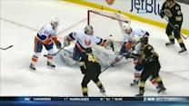 David Krejci chips one over Evgeni Nabokov
