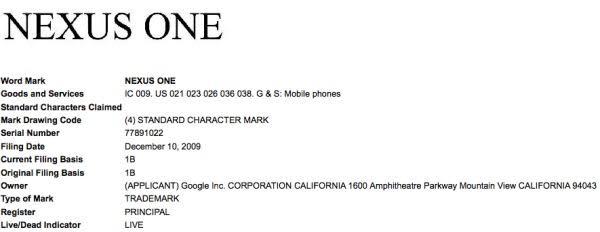 Google files for Nexus One trademark