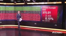 European equities lower amid trade concerns; Draghi speec...