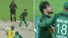 Scary moment as 'tracer bullet' collects Pakistan spinner