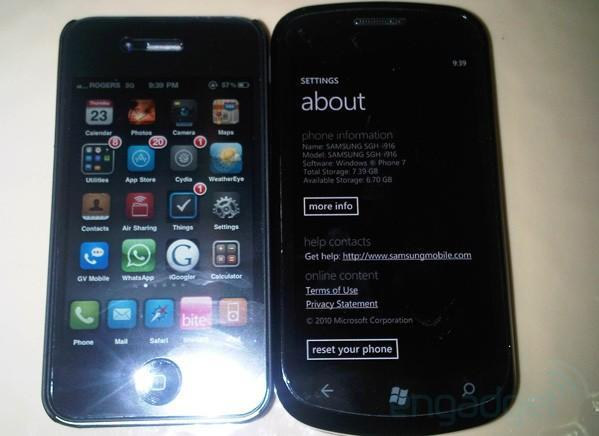 Samsung SGH-i916 spotted cuddling up to an iPhone 4 in the wilds of Canada