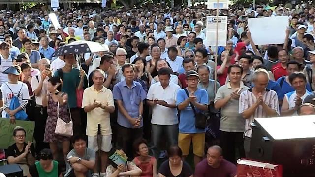 Thousands convene at Hong Lim Park for CPF protest