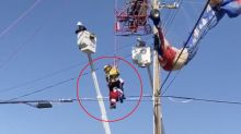 Santa trapped in power lines after going for a ride in his 'sleigh'