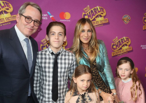 Matthew Broderick and Sarah Jessica Parker with their kids, James Wilkie and twins Tabitha and Loretta, at the opening night of the musical <em>Charlie and the Chocolate Factory</em> on April 23. (Photo: Bruce Glikas/Bruce Glikas/FilmMagic)