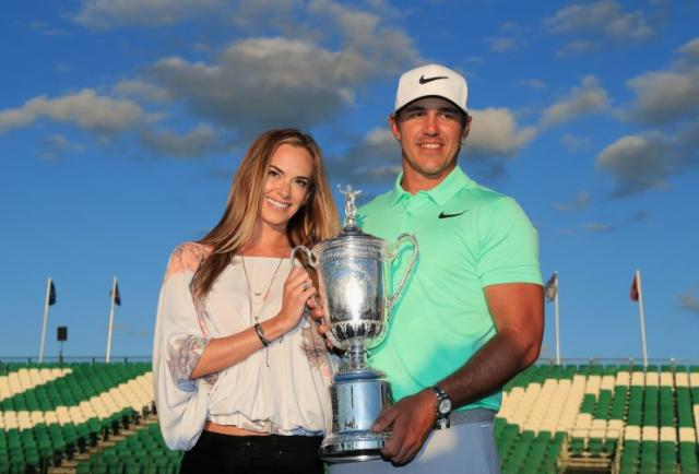 Jena Sims and Brooks Koepka celebrate Brooks' U.S. Open victory. (Getty Images)