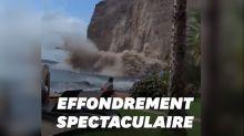 Aux Canaries, un pan de falaise s'éffondre sous les yeux des touristes