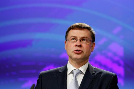 FILE PHOTO: EU Commission Vice-President Dombrovskis holds a new conference in Brussels