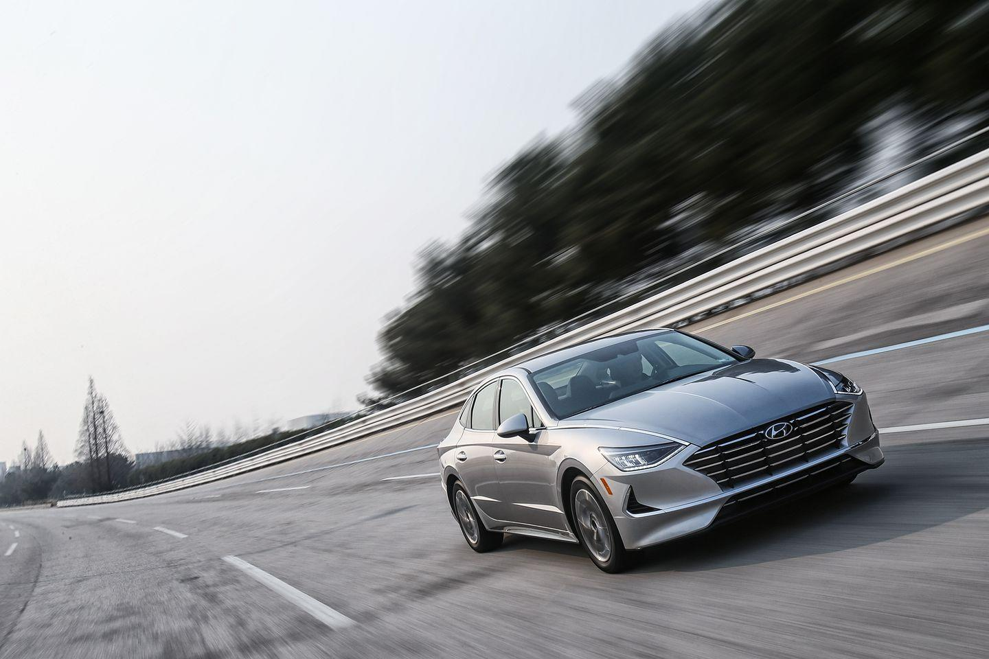 """<p>But we also appreciate the restraint on Hyundai's part for not just packing in more and more lines and surfaces, which is often how car companies endeavor to amp up design. The Sonata is the first car rendered in Hyundai's latest design language-dubbed Sensuous Sportiness-previewed by <a href=""""https://www.caranddriver.com/news/a19135395/hyundai-le-fil-rouge-hdc-1-concept-sensuous-sportiness/"""" rel=""""nofollow noopener"""" target=""""_blank"""" data-ylk=""""slk:the Le Fil Rouge concept car"""" class=""""link rapid-noclick-resp"""">the Le Fil Rouge concept car</a> shown at the 2018 Geneva auto show. And it's the first model fully conceived since the arrival of its superstar designers-chief design officer Luc Donckerwolke (formerly of Lamborghini, Audi, and Bentley) and head of Hyundai design SangYup Lee (General Motors, Bentley, and Volkswagen).</p>"""