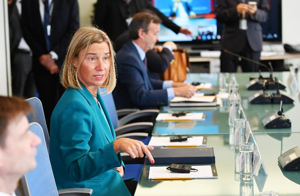 The book fair will start by sending a distinctly pro-EU signal at Tuesday's opening ceremony, giving the stage to the bloc's foreign policy chief Federica Mogherini (AFP Photo/MANDEL NGAN)