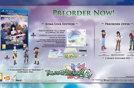 Tales of Hearts R nets day-one edition, pre-order bonuses in Europe