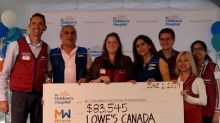 Lowe's Canada and its banners present $1,125,000 to Children's Miracle Network and Opération Enfant Soleil