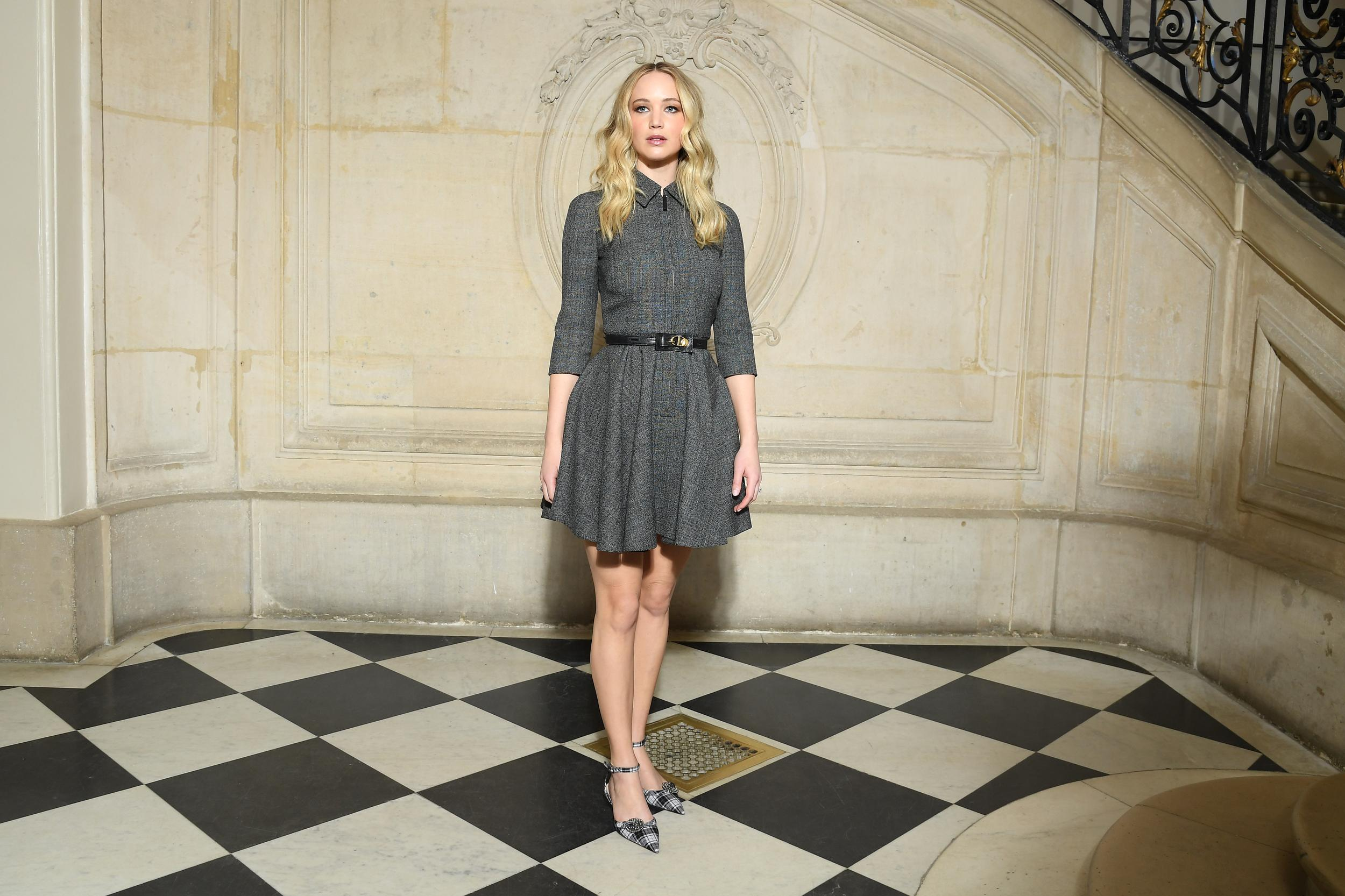 PARIS, FRANCE - FEBRUARY 26: Jennifer Lawrence attends the Christian Dior show as part of the Paris Fashion Week Womenswear Fall/Winter 2019/2020 on February 26, 2019 in Paris, France. (Photo by Pascal Le Segretain/Getty Images)
