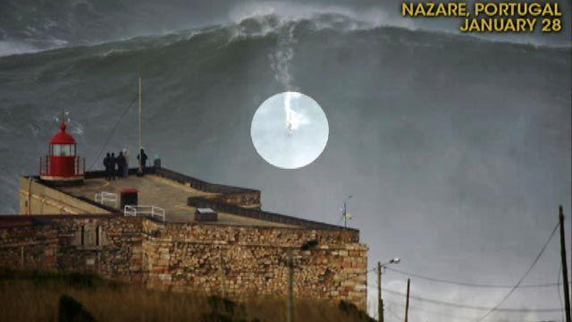 Surfer catches record wave estimated at 100 feet