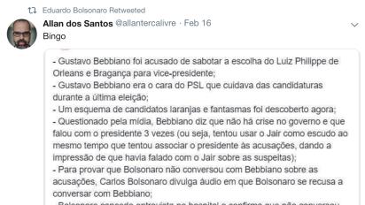 Aliados de Eduardo Bolsonaro acusam Bebianno de conspirador