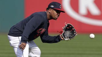 Indians star Jose Ramirez carted off field