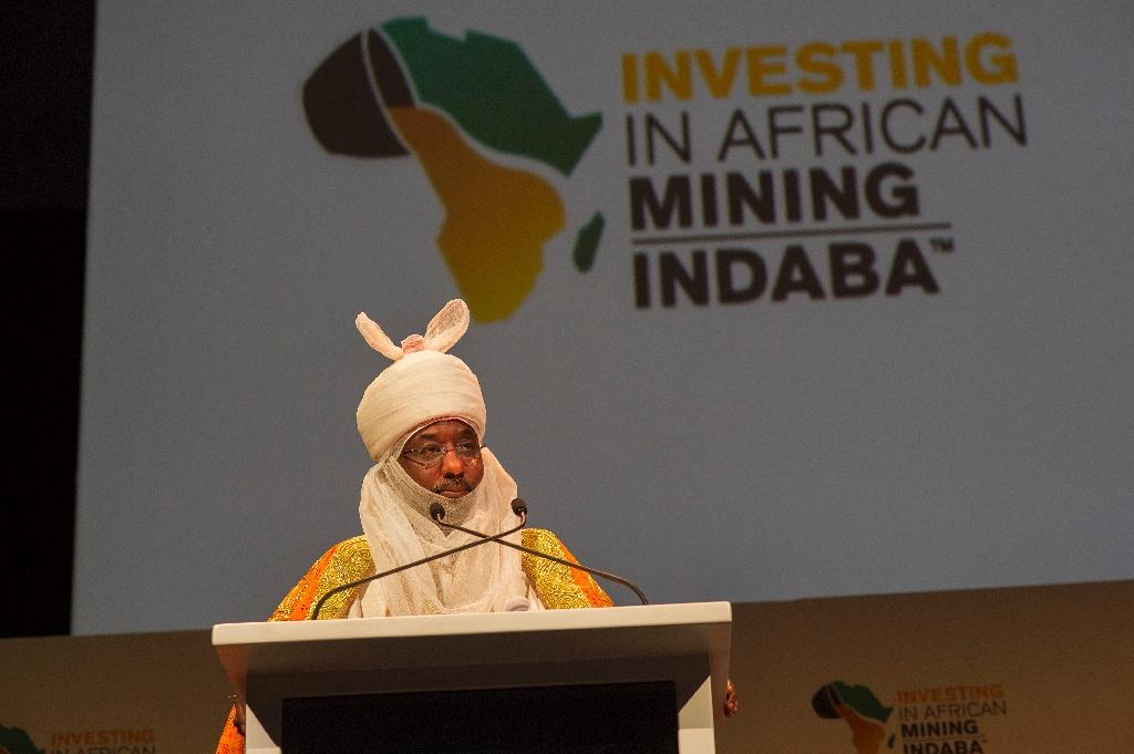 Lamido Sanusi, Emir of Kano, in Nigeria, and Chairman of the Black Rhino Group speaks on the first day of the Mining Indaba 2016 Conference on February 8, 2016, at the Cape Town International Convention Centre in Cape Town (AFP Photo/Rodger Bosch)