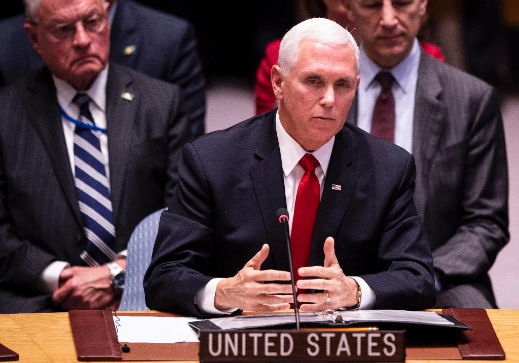 US Vice President Mike Pence speaks during a Security Council meeting about the situation in Venezuela at the United Nations in New York on April 10, 2019 in New York City (AFP Photo/Johannes EISELE)