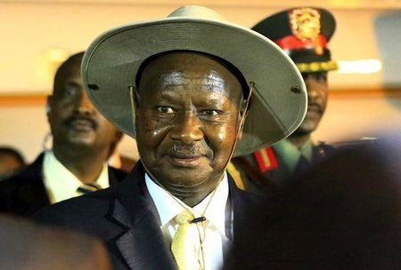 Uganda's President Yoweri Museveni arrives at Khartoum Airport for talks during an official visit to Sudan
