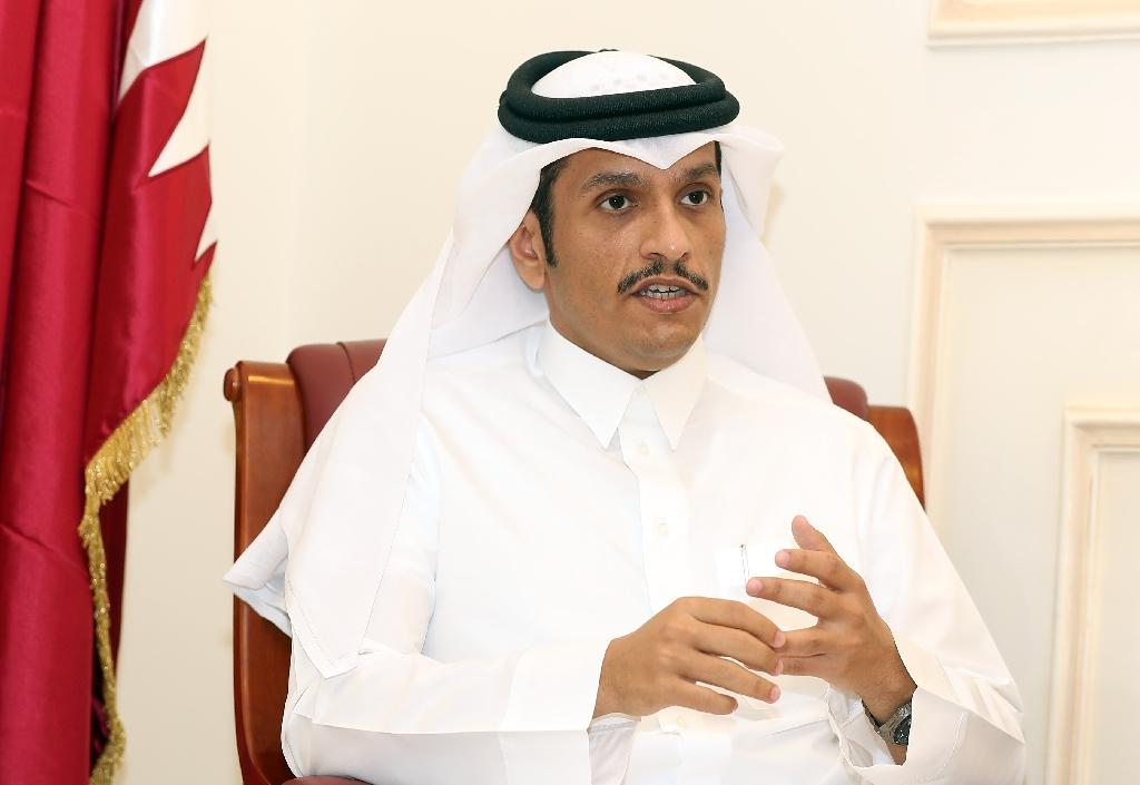 Qatari Foreign Minister Sheikh Mohammed bin Abdulrahman Al-Thani speaks to an AFP reporter in Doha, on June 8, 2017 (AFP Photo/KARIM JAAFAR)