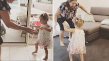 The moment little girl takes her first steps after fears she would never walk