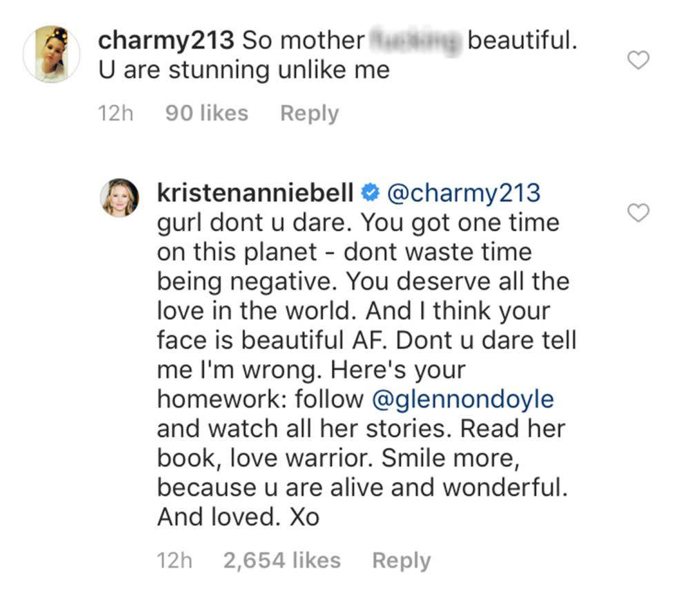 Kristen Bell Sent an Inspiring Self-Love Message to Fan