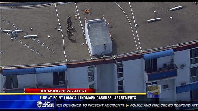 Fire at Point Loma's landmark Carousel Apartments