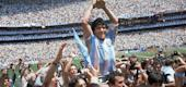 Diego Maradona celebrates after winning the 1986 World Cup. (AP)