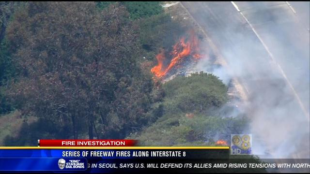 5PM UPDATE: Truck ignites a series of fires along Interstate 8
