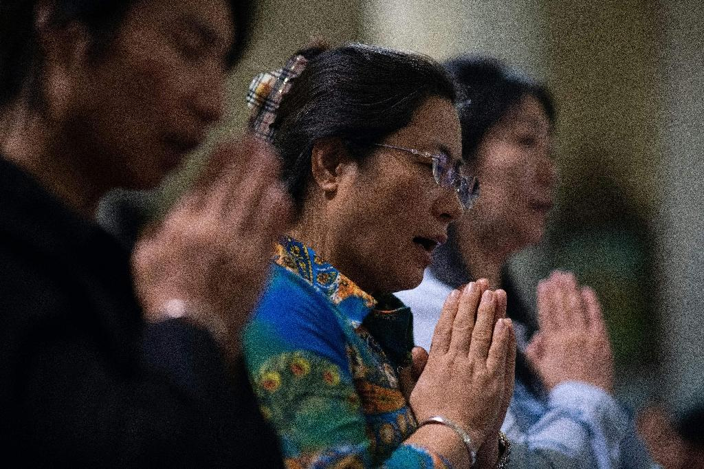 Christian devotees pray during a mass at the South Cathedral in Beijing (AFP Photo/Nicolas ASFOURI)