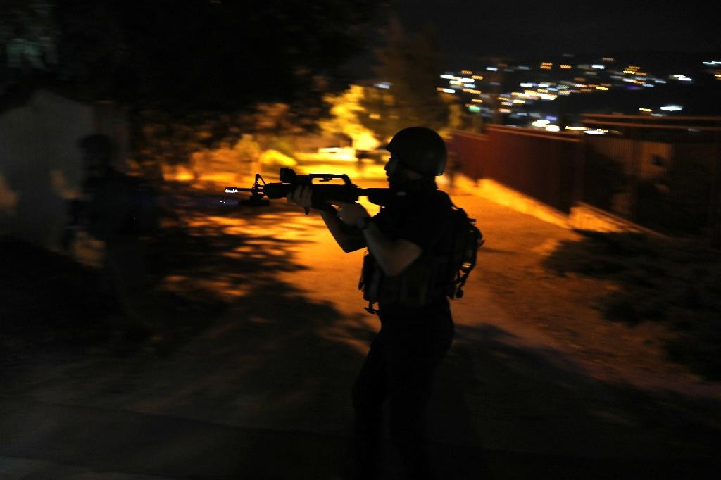 Israeli forces, seen here during a drill on August 13, 2018, regularly stage overnight raids to arrest Palestinians in the West Bank