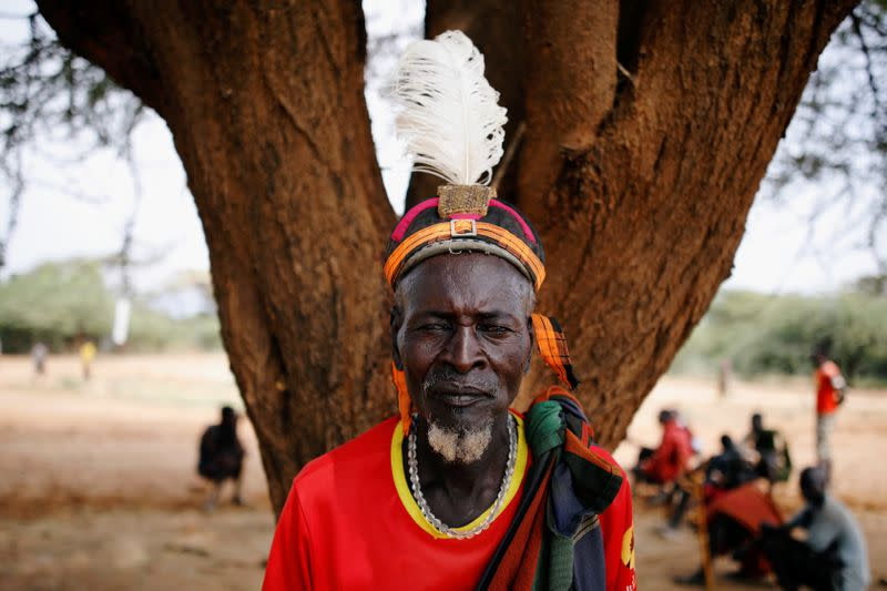 Kokoi Namojong', 59, from the Turkana tribe poses for a picture in the village of Lorengippi near the town of Lodwar, Turkana county