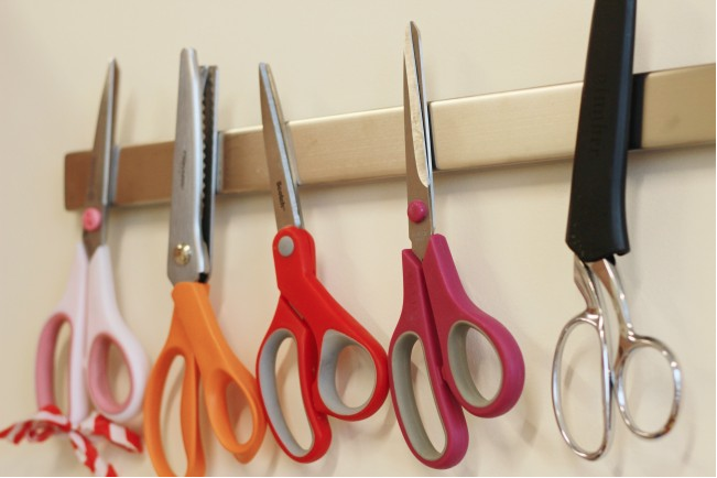 """<p>You might have a magnetic knife rack in your kitchen already, but nab another magnetic strip to keep scissors close at hand in the classroom. (Credit: <a href=""""https://blog.colettehq.com/studio/more-tool-organization-courtesy-of-ikea?utm_source=feedburner&utm_medium=feed&utm_campaign=Feed%3A%20coletterie%20%28Coletterie%29"""" rel=""""nofollow noopener"""" target=""""_blank"""" data-ylk=""""slk:Colette"""" class=""""link rapid-noclick-resp"""">Colette</a>)</p>"""