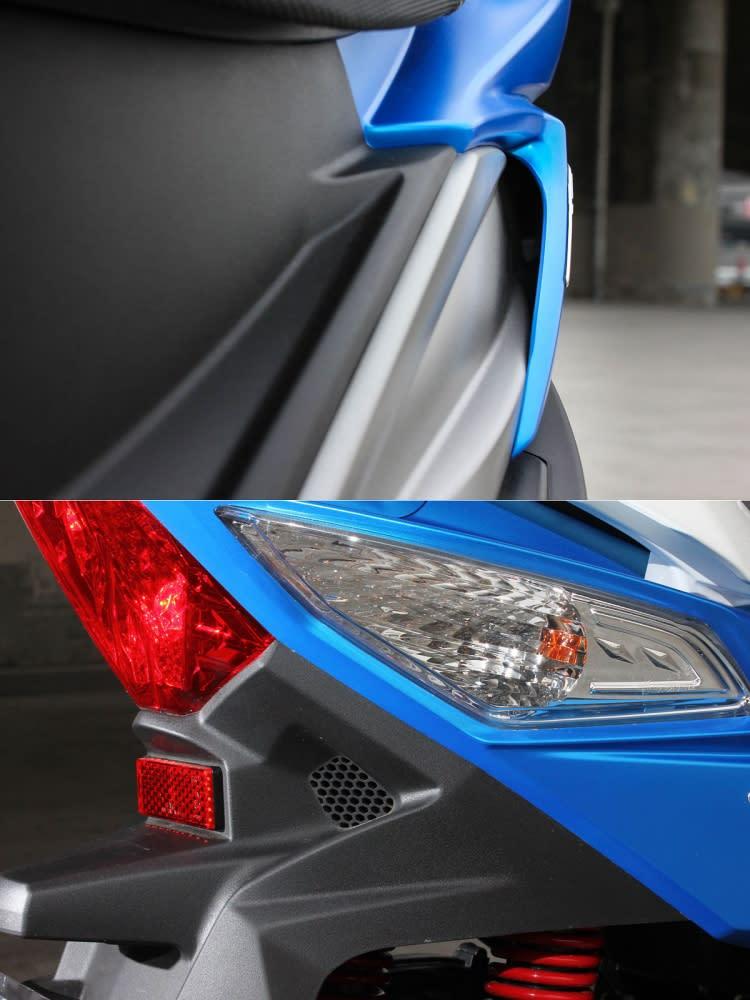 導流設計從車側進、車尾出,有效減低風阻效應。