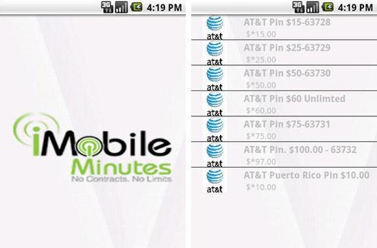 iMobileMinutes for Android refills your prepaid's empty tank