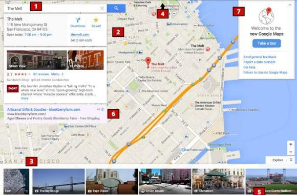 Screenshots of redesigned Google Maps surface, show web UI without a sidebar
