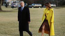 President Trump cracked an 'awkward' joke about Melania: 'Did she leave him?'