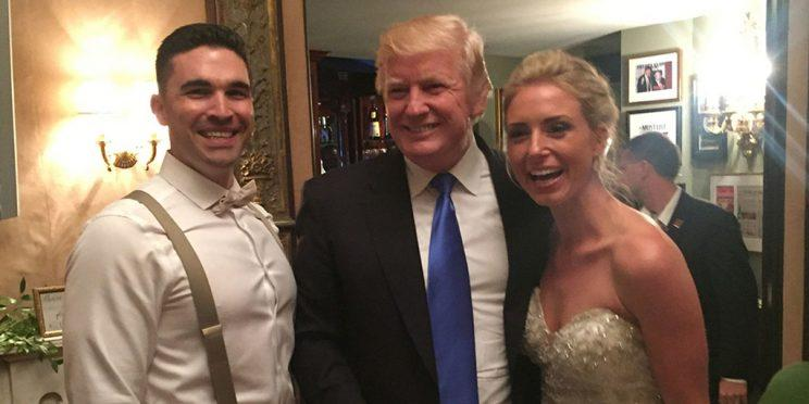 President Trump poses with the happy couple. (Photo: @lauramp11 via Twitter)