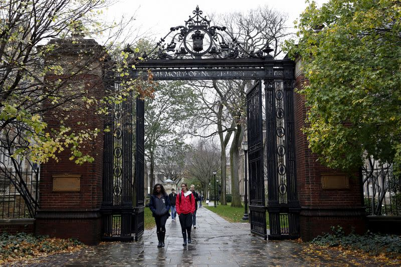 FILE PHOTO: Students walk on the campus of Yale University in New Haven, Connecticut