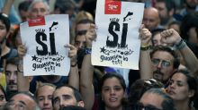 Day-long separatist protest in Barcelona heads into night