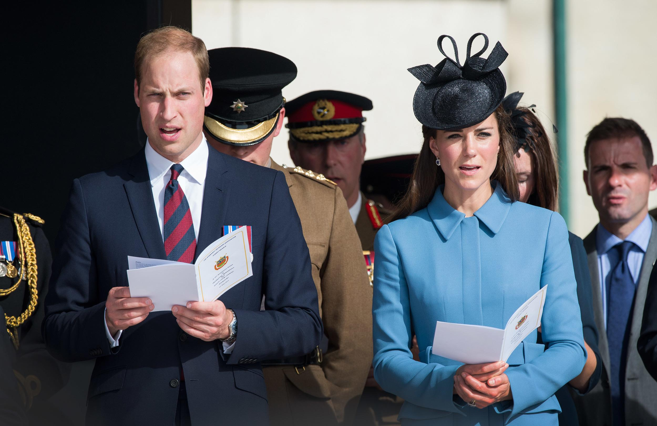 Prince William, Duke of Cambridge and Catherine, Duchess of Cambridge attend a service during the D-Day 70 Commemorations on June 6, 2014.