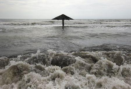 Waves come ashore at Mayangan village in Subang, Indonesia's West Java province, Indonesia, in this July 16, 2010 file photo. REUTERS/Beawiharta