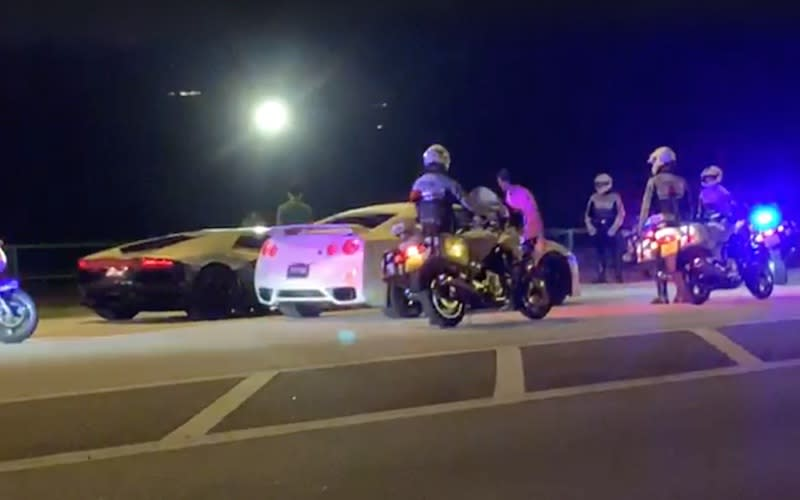 Sports cars spotted racing along Lim Chu Kang Road, apparently for a 'Crimewatch' re-enactment