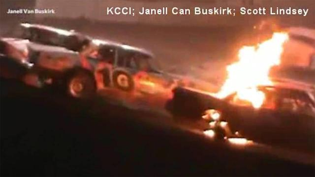 Driver pulled from burning vehicle at stock car race
