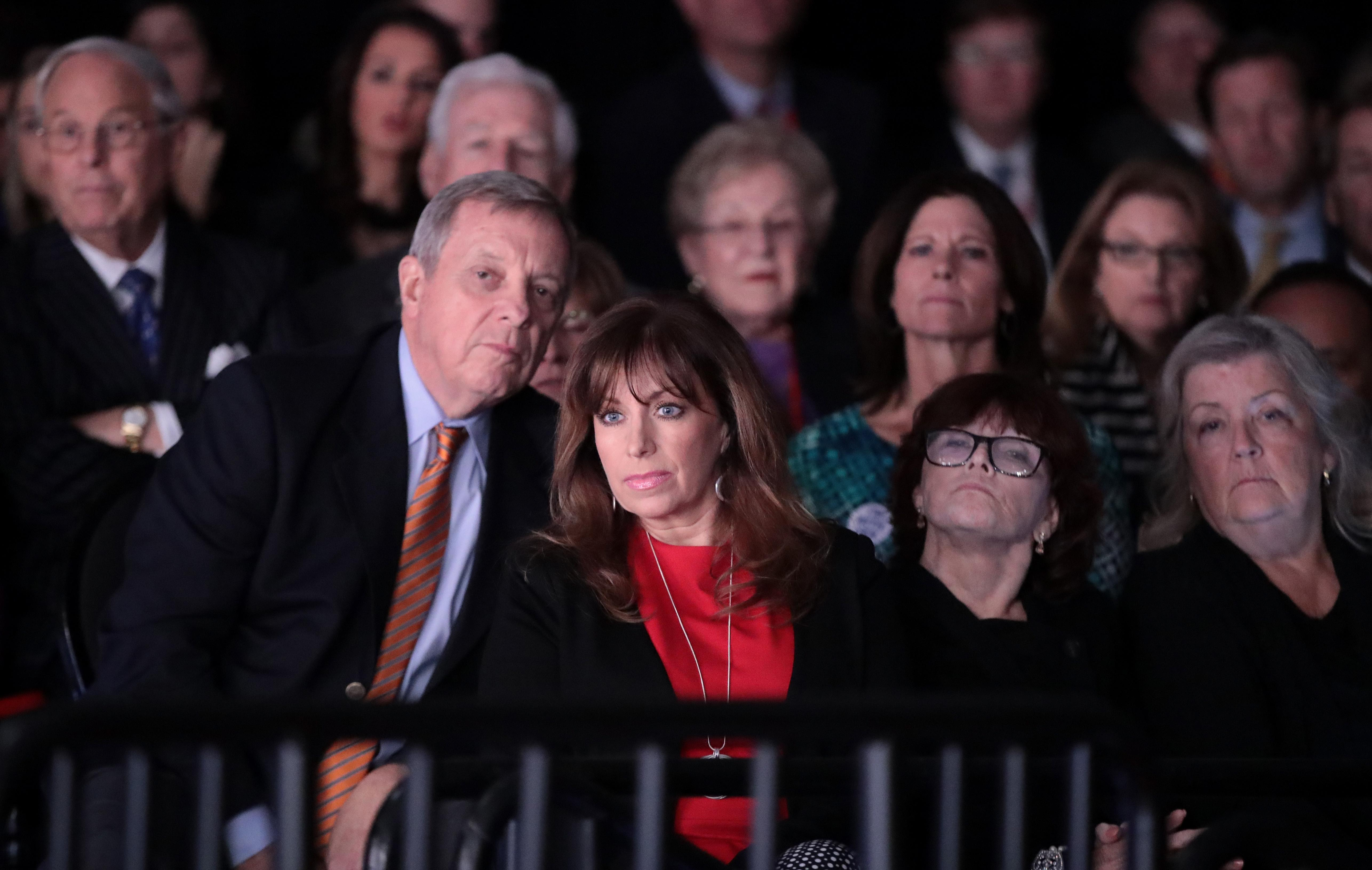 Dick Durbin (left) sits behind (left to right) Paula Jones, Kathleen Willey and Juanita Broaddrick at the presidential debate at Washington University in St. Louis on Oct. 9, 2016. (Photo: Scott Olson/Getty Images)