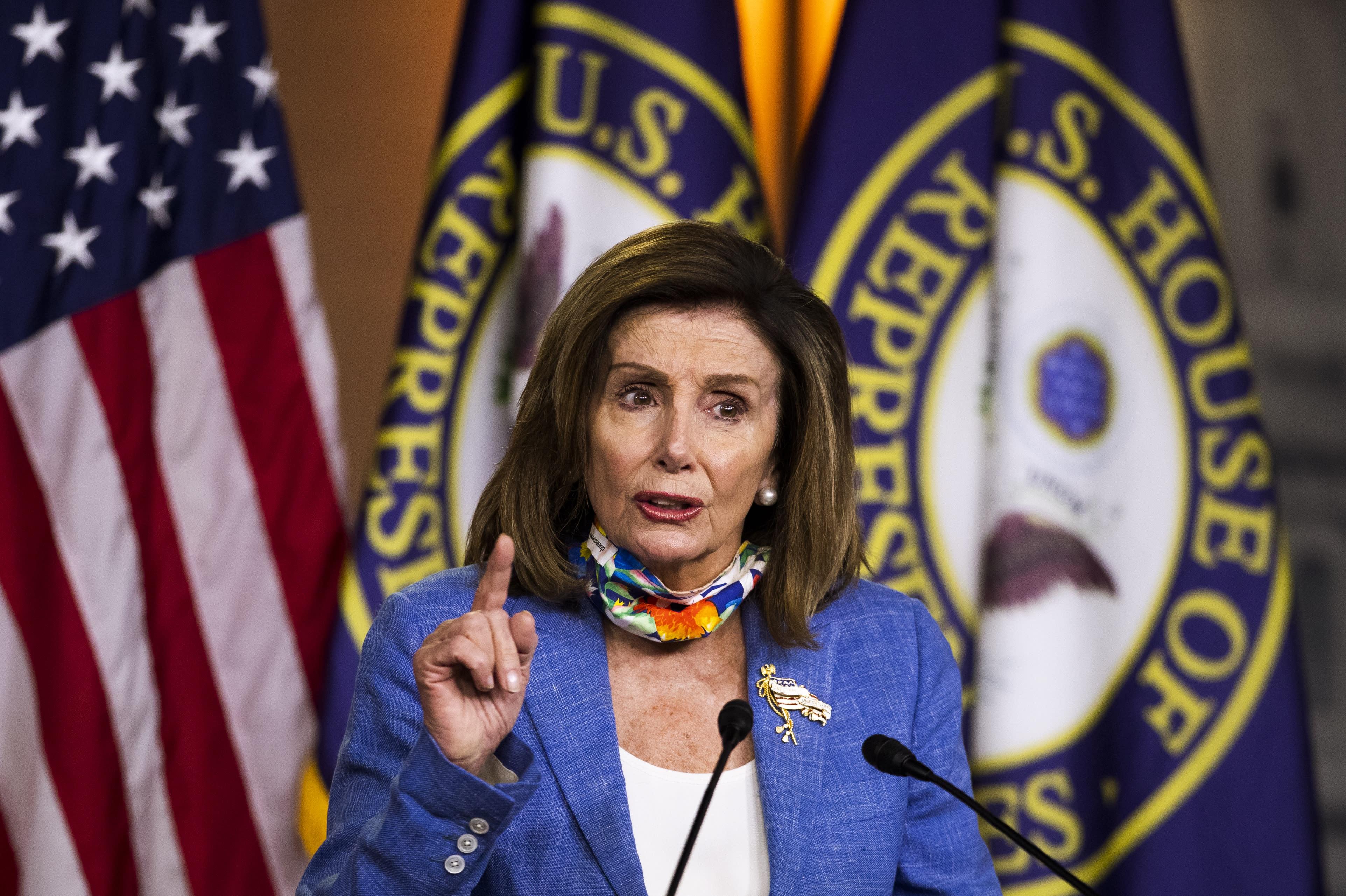 House Speaker Nancy Pelosi of Calif., speaks during a news conference on Capitol Hill, Thursday, July 2, 2020, in Washington. (AP Photo/Manuel Balce Ceneta)