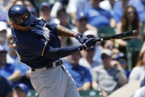 Domingo Santana hit this ball a long way. (AP Photo)