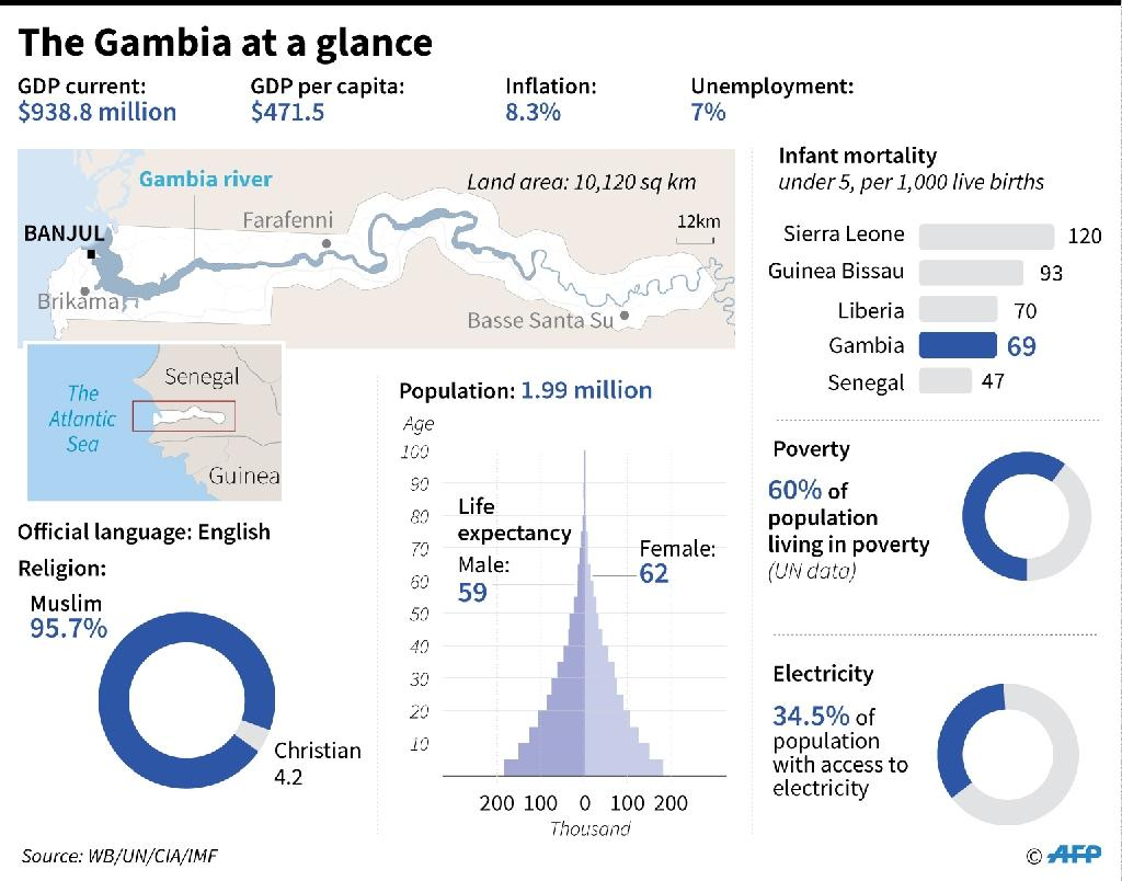 Graphic charting Gambia's socio-economic indicators. (AFP Photo/Gal ROMA, Laurence CHU, John SAEKI)